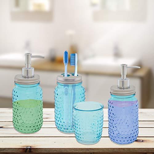 Circleware 4 Piece Mason Jar Hobnail Glass Bath Accessories Set Toothbrush Holder 2 Soap Dispensers Drinking Glass 0 0