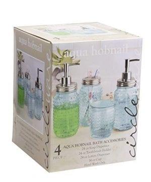 Circleware 4 Piece Mason Jar Hobnail Glass Bath Accessories Set Toothbrush Holder 2 Soap Dispensers Drinking Glass 0 1 300x360