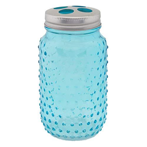 Circleware 4 Piece Mason Jar Hobnail Glass Bath Accessories Set Toothbrush Holder 2 Soap Dispensers Drinking Glass 0 3