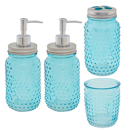 Circleware 4 Piece Mason Jar Hobnail Glass Bath Accessories Set Toothbrush Holder 2 Soap Dispensers Drinking Glass 0