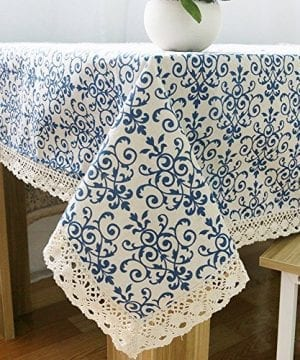 ColorBird Vintage Navy Damask Pattern Decorative Macrame Lace Tablecloth Heavy Weight Cotton Linen Fabric Decorative Table Top Cover 0 300x360