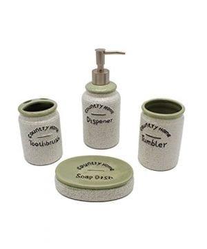 Country Home Farmhouse Decor 4 Piece Ceramic Bathroom Accessories Set Bath Ensemble Set Includes Countertop Soap Dispenser Toothbrush Holder Tumbler And Soap Dish 0 300x360