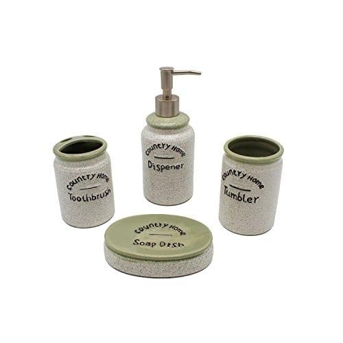 Country Home Farmhouse Decor 4 Piece Ceramic Bathroom Accessories Set Bath Ensemble Set Includes Countertop Soap Dispenser Toothbrush Holder Tumbler And Soap Dish 0