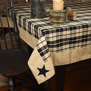 Country House Black Farmhouse Appliqued Star Plaid Tablecloth 60 X 90 0 300x300