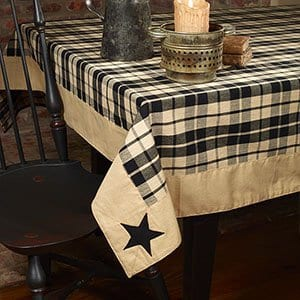 Country House Black Farmhouse Appliqued Star Plaid Tablecloth 60 X 90 0