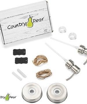 Country Pear Adorable Soap Dispenser Set Farmhouse Decor Kitchen Bathroom Accessories Mason Jar Pump Lid Chalkboard Label No Jars 0 2 300x360