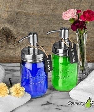 Country Pear Adorable Soap Dispenser Set Farmhouse Decor Kitchen Bathroom Accessories Mason Jar Pump Lid Chalkboard Label No Jars 0 3 300x360