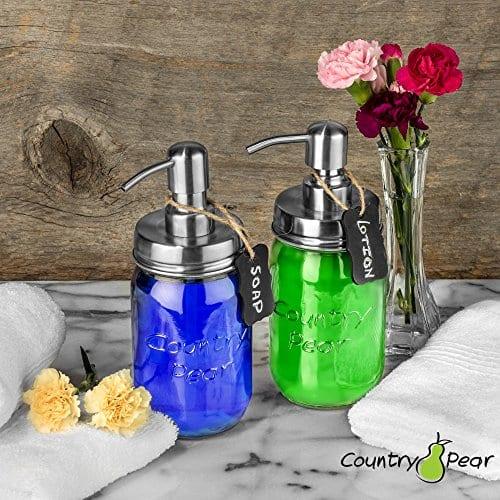 Country Pear Adorable Soap Dispenser Set Farmhouse Decor Kitchen Bathroom Accessories Mason Jar Pump Lid Chalkboard Label No Jars 0 3