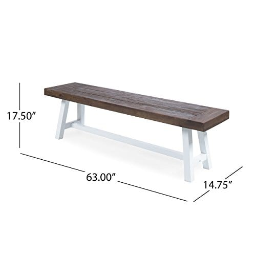 Cytheria Indoor Farmhouse Dark Brown Sandblast Finish Acacia Wood Dining Bench With White Rustic Metal Finish Frame 0 1