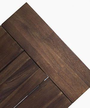 Cytheria Indoor Farmhouse Dark Brown Sandblast Finish Acacia Wood Dining Bench With White Rustic Metal Finish Frame 0 3 300x360