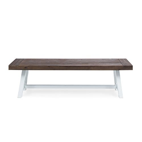 Cytheria Indoor Farmhouse Dark Brown Sandblast Finish Acacia Wood Dining Bench With White Rustic Metal Finish Frame 0