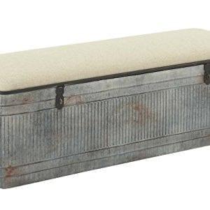 Deco 79 60966 Metal And Fabric Storage Bench Kamia 4 Tier Shoe Rack Rustic Gray 0 0 300x301