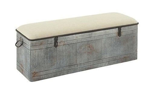 Deco 79 60966 Metal And Fabric Storage Bench Kamia 4 Tier Shoe Rack Rustic Gray 0 0
