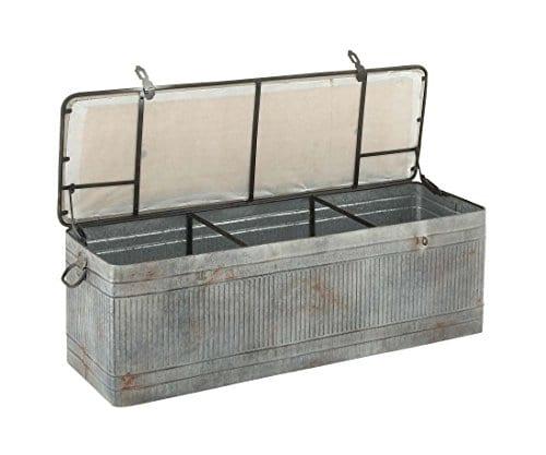 Deco 79 60966 Metal And Fabric Storage Bench Kamia 4 Tier Shoe Rack Rustic Gray 0 1