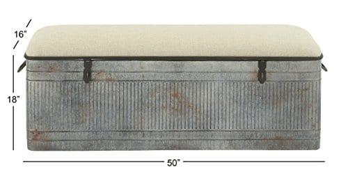 Deco 79 60966 Metal And Fabric Storage Bench Kamia 4 Tier Shoe Rack Rustic Gray 0 2