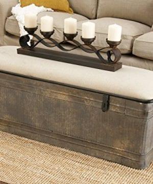 Deco 79 60966 Metal And Fabric Storage Bench Kamia 4 Tier Shoe Rack Rustic Gray 0 3 300x360