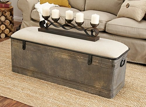 Deco 79 60966 Metal And Fabric Storage Bench Kamia 4 Tier Shoe Rack Rustic Gray 0 3