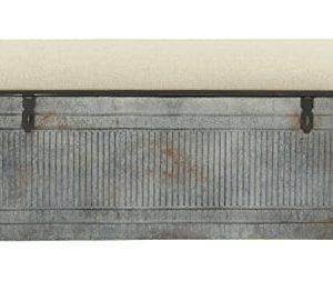 Deco 79 60966 Metal And Fabric Storage Bench Kamia 4 Tier Shoe Rack Rustic Gray 0 300x253