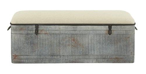 Deco 79 60966 Metal And Fabric Storage Bench Kamia 4 Tier Shoe Rack Rustic Gray 0
