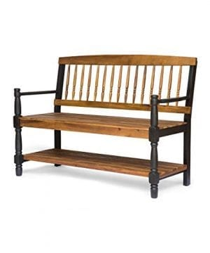Eddie Indoor Farmhouse Acacia Wood Bench With Shelf Teak Finish 0 2 300x360