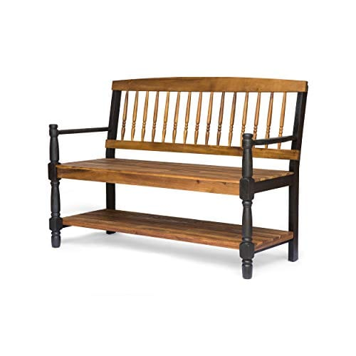 Eddie Indoor Farmhouse Acacia Wood Bench With Shelf Teak Finish 0 2