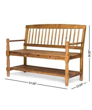 Eddie Indoor Farmhouse Acacia Wood Bench With Shelf Teak Finish 0 3 300x360