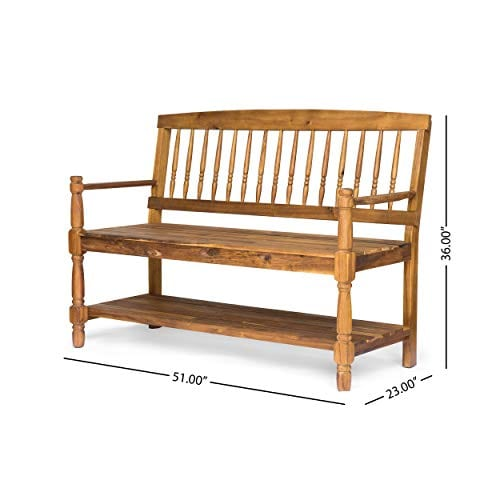 Eddie Indoor Farmhouse Acacia Wood Bench With Shelf Teak Finish 0 3