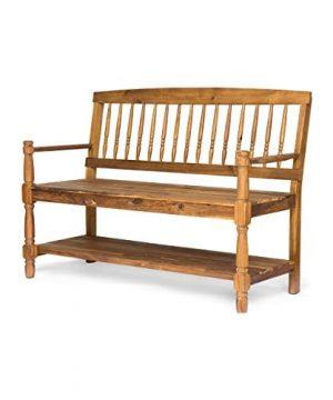 Eddie Indoor Farmhouse Acacia Wood Bench With Shelf Teak Finish 0 300x360