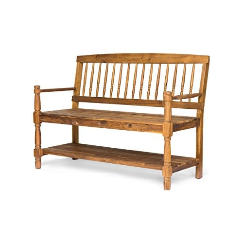 Eddie Indoor Farmhouse Acacia Wood Bench With Shelf Teak Finish 0