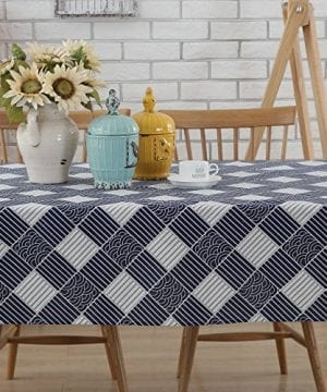 Enova Home Natural Simple Rectangle Cotton And Linen Washable Tablecloth Lace Table Cloth Cover With Pattern Printed For Kitchen Dinning Tabletop 0 0 300x360