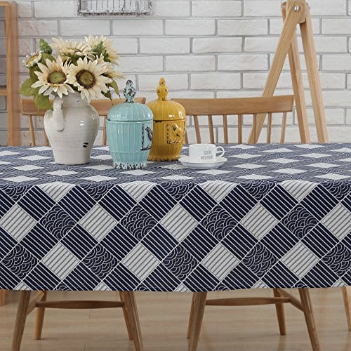 Enova Home Natural Simple Rectangle Cotton And Linen Washable Tablecloth Lace Table Cloth Cover With Pattern Printed For Kitchen Dinning Tabletop 0 0
