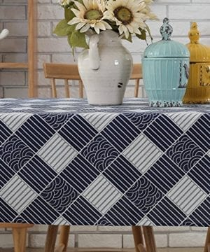 Enova Home Natural Simple Rectangle Cotton And Linen Washable Tablecloth Lace Table Cloth Cover With Pattern Printed For Kitchen Dinning Tabletop 0 1 300x360