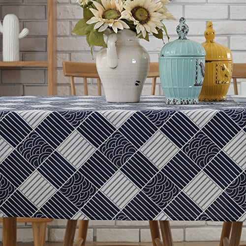 Enova Home Natural Simple Rectangle Cotton And Linen Washable Tablecloth Lace Table Cloth Cover With Pattern Printed For Kitchen Dinning Tabletop 0 1