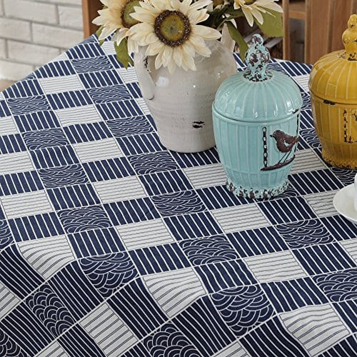Enova Home Natural Simple Rectangle Cotton And Linen Washable Tablecloth Lace Table Cloth Cover With Pattern Printed For Kitchen Dinning Tabletop 0 2