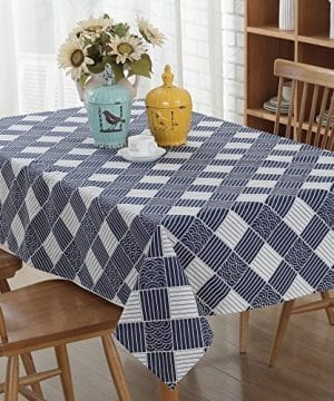 Enova Home Natural Simple Rectangle Cotton And Linen Washable Tablecloth Lace Table Cloth Cover With Pattern Printed For Kitchen Dinning Tabletop 0 300x360