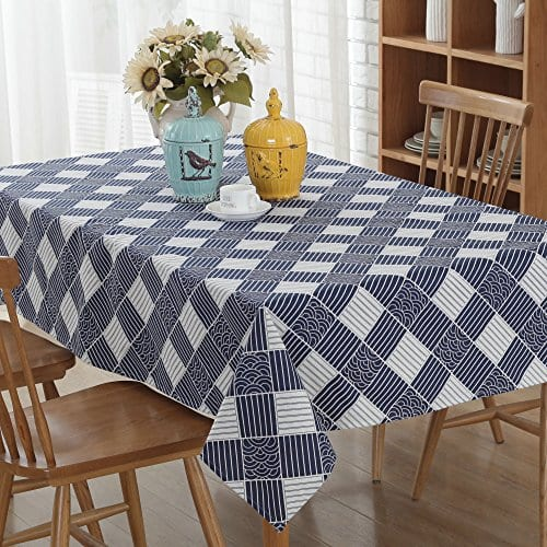 Enova Home Natural Simple Rectangle Cotton And Linen Washable Tablecloth Lace Table Cloth Cover With Pattern Printed For Kitchen Dinning Tabletop 0