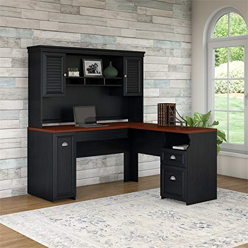 Fairview L Shaped Desk With Hutch In Antique Black 0 0