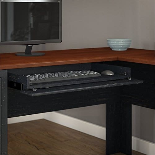 Fairview L Shaped Desk With Hutch In Antique Black 0 1