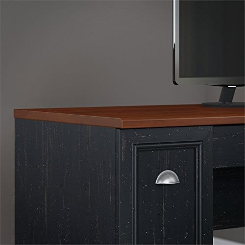 Fairview L Shaped Desk With Hutch In Antique Black 0 2