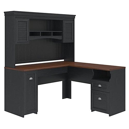 Fairview L Shaped Desk With Hutch In Antique Black 0