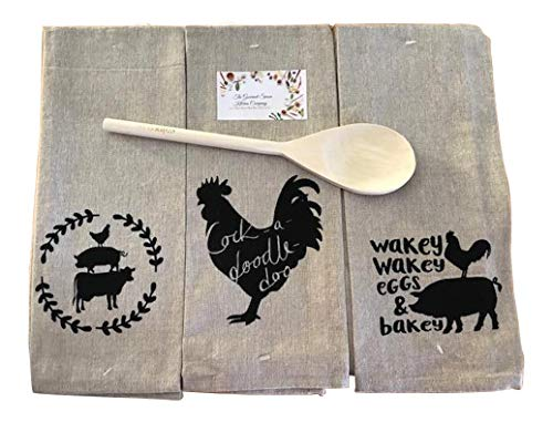 Farm To Table Kitchen Towel Set Natural 3 Piece Set Dish Towels Winco Wooden Spoon 0