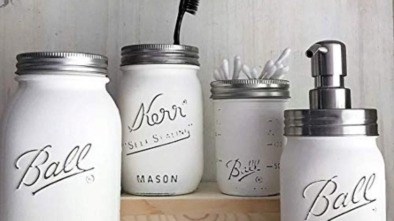 Farmhouse Bathroom Decor Mason JAR Soap Dispenser and Toothbrush Set White PAINTED and Distressed Ball Jars Vanity Organizer 0
