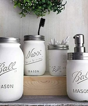 Farmhouse Bathroom Decor Mason JAR Soap Dispenser And Toothbrush Set White PAINTED And Distressed Ball Jars Vanity Organizer 0 300x360