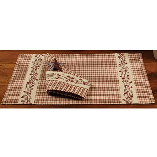 Farmhouse Berry Country Plaid 13 X 19 Cotton Embroidered Appliqued Placemats Set Of 4 0