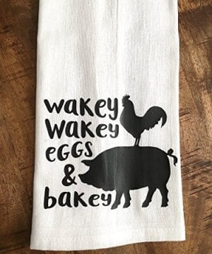 Funny Kitchen Towel Eggs And Bacon Tea Towel Farmhouse 0 1 300x360