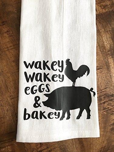 Funny Kitchen Towel Eggs And Bacon Tea Towel Farmhouse 0 1