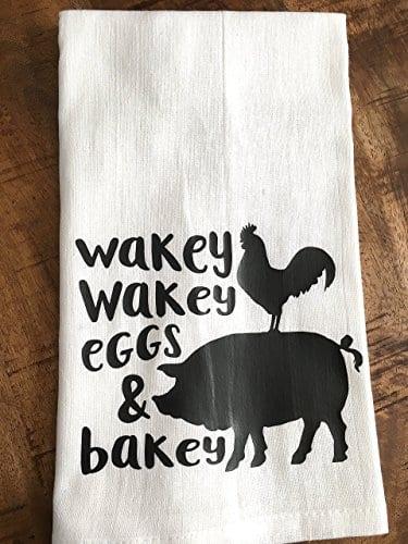 Funny Kitchen Towel Eggs And Bacon Tea Towel Farmhouse 0 2