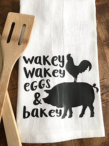 Funny Kitchen Towel Eggs And Bacon Tea Towel Farmhouse 0 3