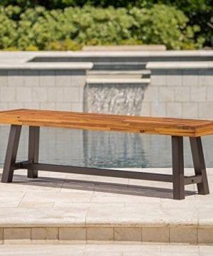 GDF Studio 300496 Colonial Outdoor Sandblack Finish Acacia Wood Rustic Metal Bench Brown 0 0 300x360