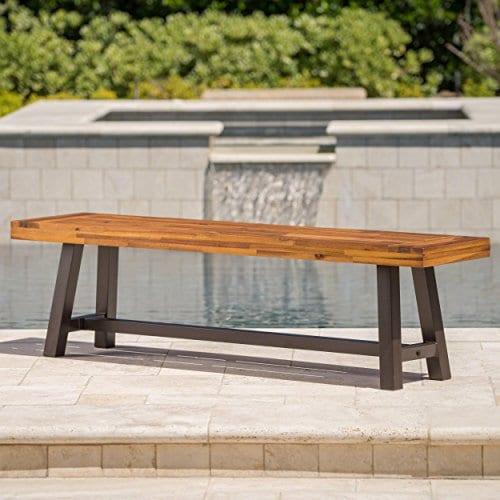 GDF Studio 300496 Colonial Outdoor Sandblack Finish Acacia Wood Rustic Metal Bench Brown 0 0